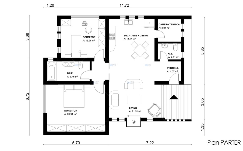 Plan parter proiect casa minimal case mici si ieftine