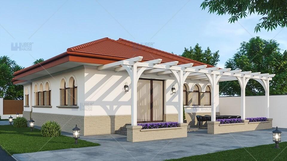 Casa traditionala pergola spate plan