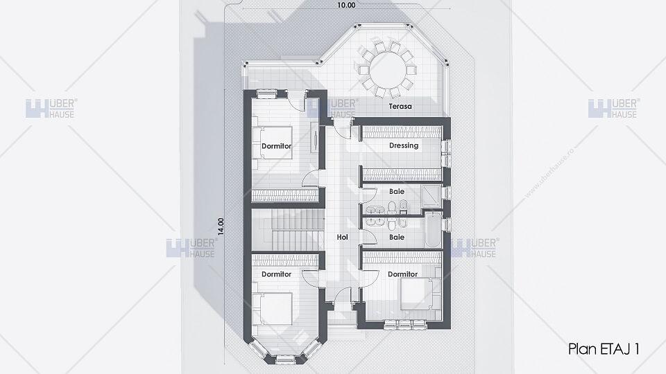 plan proiect casa stil neoromanesc fara garaj
